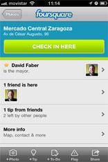 Einchecken an einer Foursquare Location via Mobile App