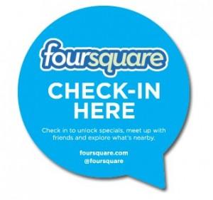 Foursquare Check-In here Sticker für Schaufenster und Eingangstüren von Venues
