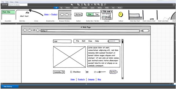 Beispiel Wireframe mit Balsamiq Mockup