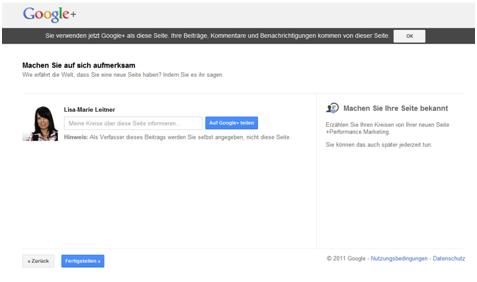 Google Plus Unternehmensseite