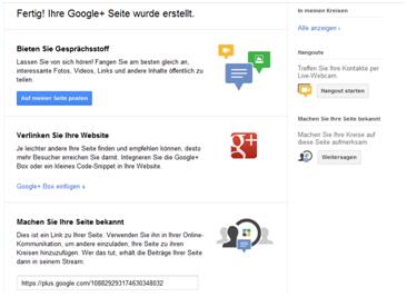 Google+ Unternehmensseite