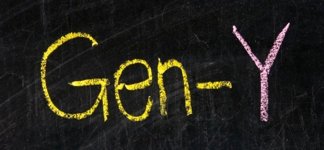 The word GEN-Y handwritten with chalk  on a blackboard
