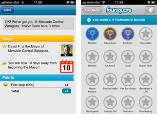 Abbildung der Mobile App nach einem Foursquare Check-In und Informationen zu den erhaltenen Badges