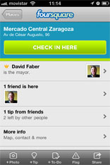 Einchecken an einer Foursquare Location via Mobile App