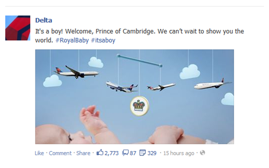 Delta Airlines Facebook Post royal baby