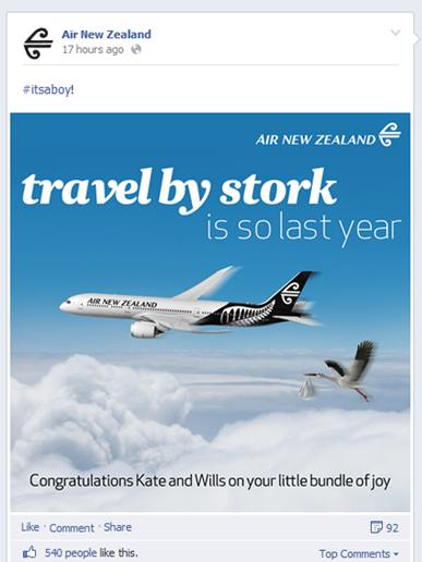 Air New Zealand Facebook Post Royal Baby