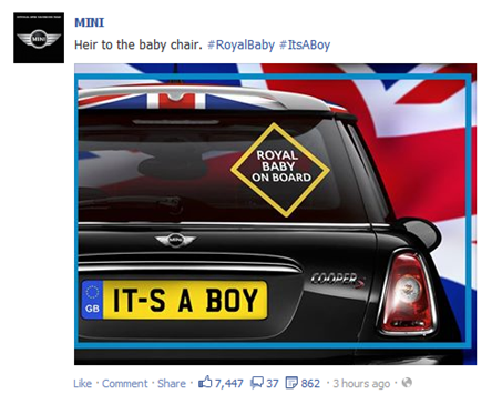 BMW Mini Facebook Post Royal Baby