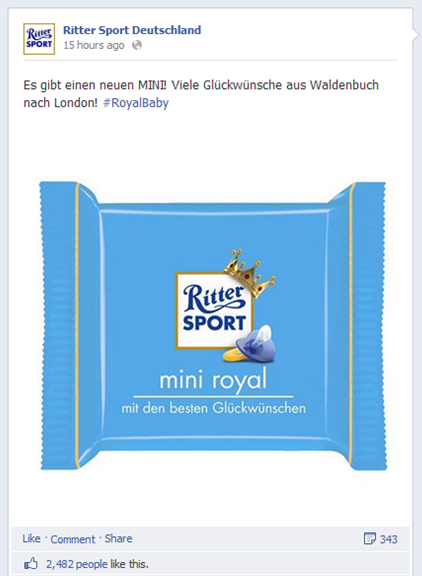 Ritter Sport Facebook Post Royal Baby