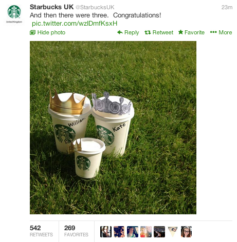Starbucks Twitter Tweet Royal Baby